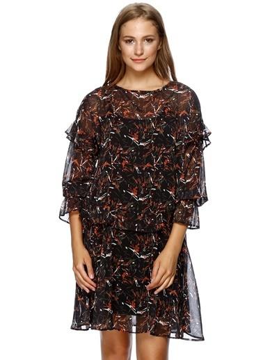 Black Pepper Desenli Şifon Elbise Renkli